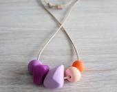 Polymer Clay Bead Necklace, Pastel, Peach, Orange, Purple, Geometric, Multi-coloured, Vibrant, 'Eleanor'