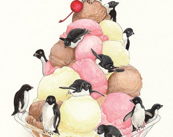 And a Penguin on Top: Penguins and Ice Cream Sundae Art Print 11x14, Ice Cream Art, Nursery Print, Penguin Decor