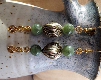 Hand Made Ear Rings.Reclaimed Beads and Hand Twisted Brass Wire.