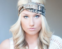 Realtree Camo headband, stretch cotton twist headband camouflage
