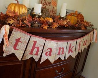 Thankful Banner for Fall Mantle Decoration Pumpkin Autumn Harvest Burlap Bunting Pennant Hayride Photo Prop