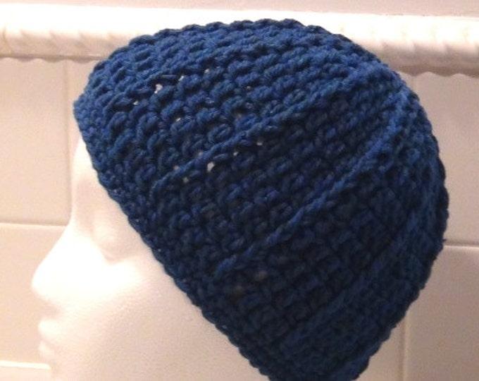 Crocheted Skullcap - Rich Blue Peacock Cap - Beanie