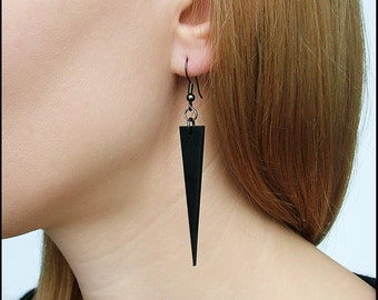 Long Black Dangle Earrings / Polymer clay earrings / Gothic earrings / Matte black earrings / Black triangle earrings / Geometric earrings