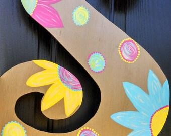 Initial Door Hanger - Flowers