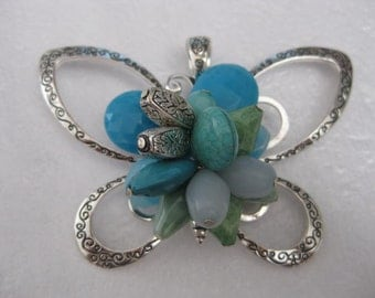 Supplies ~ Huge Butterfly  Pendant  Turquoise Blue  Beads Silver 3 1/2""