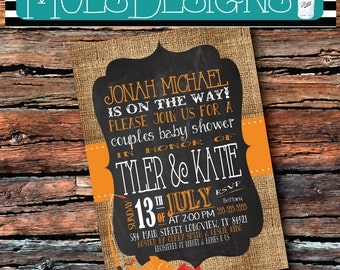 Any Color Couples BABY SHOWER FISHING Fish Fishing Pole Chalkboard Burlap Orange Red Little Fisherman Man Boy Sip See Birthday Invitation