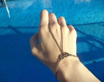 Antique Bronze Minimalist Slave Bracelet - Simple Filigree Slave Bracelet
