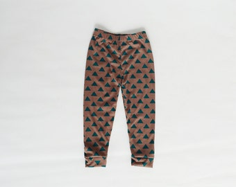 Teal Green Triangles on brown Cotton Jersey Knit baby / toddler leggings