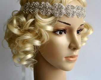 Rhinestone Headband, Wedding bridal Headband, Crystal ribbon tie on , Wedding Headpiece, Halo Bridal Headpiece, 1920s Flapper headband