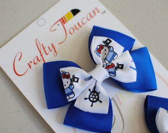 Practically Perfect Blue Hello Kitty Everyday Hair Bow for Toddlers/girls