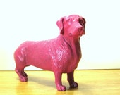 Hot Pink Dachshund - Re-purposed Weiner Dog Toy - Upcycled Hot Pink Home Decor