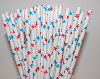 Red & Blue Stars Paper Straws - 25/Pack