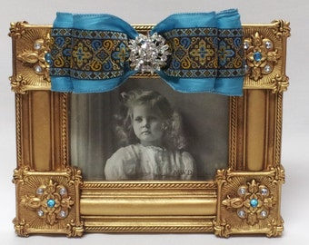 4x6 inch Gold Embellished Frame with Bow
