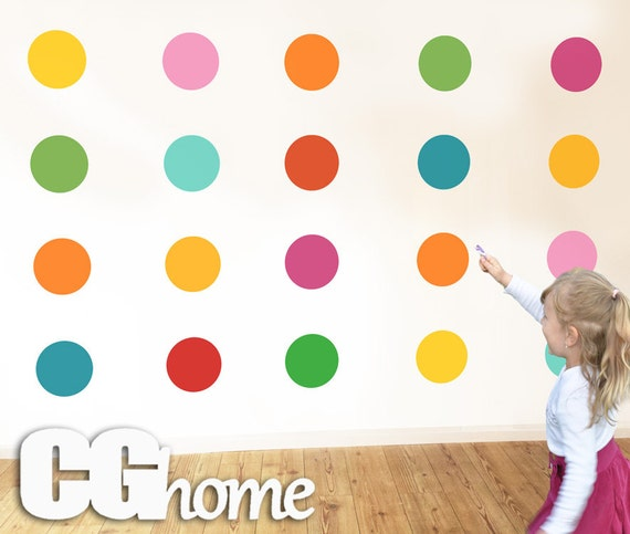 Polka DOTS confetti Removable Easy Installation 6 inch Rainbow Dots Wall Decal Wall Stickers Nursery Decoration 10 colors for kids CGHOME