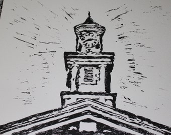 Linocut study of New Albany's 2nd baptist church in black and white