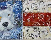 """American Pride Pit Bull , by Kat McD. Americana painting on 30"""" x 15""""  canvas"""