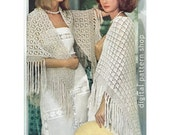 Two Crochet Shawl Patterns Womens Lacy Spiderweb Shawl & Fan Shawl Crochet Pattern Vintage Lightweight Shawls PDF Instant Download C37