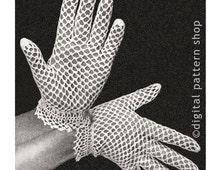Vintage Crochet Gloves Pattern, Womens Dainty Lace Gloves Crochet Pattern Fishnet Gloves Instant Download PDF Pattern - C12