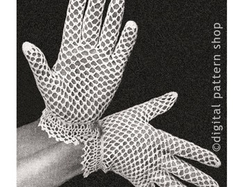 Vintage Crochet Gloves Pattern, Womens Dainty Lace Gloves Crochet Pattern Fishnet Gloves Instant Download PDF Pattern - C12