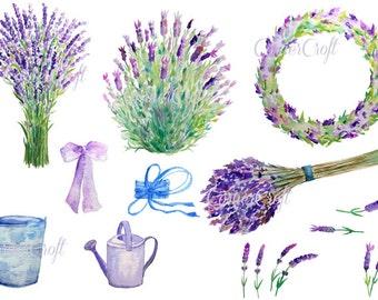 Lavender Clip Art, hand painted watercolor lavender blue purple flower herb collection digital clipart printable instant download scrapbook