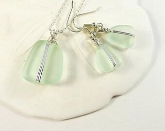 Sea foam sea glass earrings sea glass necklace sea glass jewelry sterling silver jewelry handmade jewelry  seaglass jewelry wire wrapped