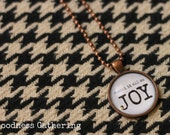 "Antique Copper and Glass Pendant with Chain. ""count it all as JOY"""