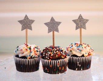 Mini Star Cupcake Toppers (silver) - Set of 24