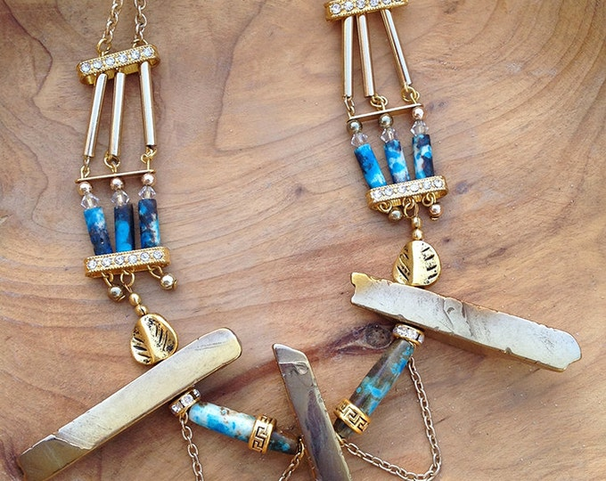 Handmade Tribal Necklace, Boho, Leaf, Festival, Bone, Statement, Sexy, Unique, Native, Gold Pyrite/Hematite (Royal Native Necklace)