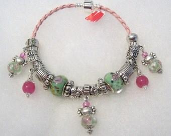 309 - CLEARANCE - Mint Blossoms Dangle Bracelet