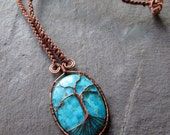 Genuine Turquoise Necklace Antique Copper Wire Wrap Tree of Life on Macramé Knotted Brown Hemp, Norse Yggdrasil Kabbalah Healing Tree