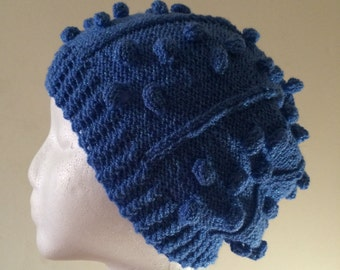 Blue Hat with Metallic Threads for Kids and Teens Hand Knitted Hat