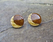 Sapele & Ash Crescent Moon stud post earrings