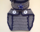 Dallas Cowboys inspired football hat with matching diaper cover- Newborn