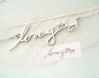 Handwriting Jewelry • Signature Necklace • Personalized Jewelry • Memorial Necklace • Keepsake Jewelry • MOTHER'S GIFT • NH01
