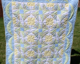Baby Crib Quilt Square in Square with Diagonal Sashing Blue Green Yellow