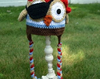 Pirate Owl Crochet Earflap Hat