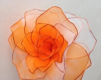 Two Tone Orange/White Nylon Rose