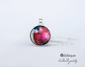 Galaxy Nekclace Magenta Nebula Pendant Pink Constellation Outer Space Jewelry gifts for her for him astronomy keyring keychain CS91