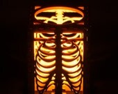 """Rib Cage laser cut wood tea light holder. 2.5""""x2/5""""x3"""". Tea light candle included. Free shipping to US."""