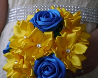 Blue & Yellow Satin Ribbon Rose Bouquet, Handmade