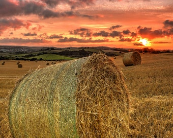 Landscape photograph of hay bale and sunset taken in the summer, summer harvest, field crops, landscape photography