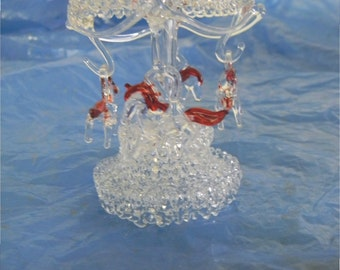 """hand blown glass 4""""carrousel with rotating top and 4 horses"""