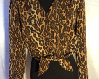 Vintage 1990s Tie Front Leapard Blouse