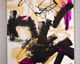 Abstract Painting 'HOT MESS' // Abstract Art // Large Art // Black // Purple // Graffiti // Spray Paint // Gold