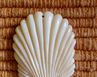 Carved Bone Shell Bead or Pendant 35 mm
