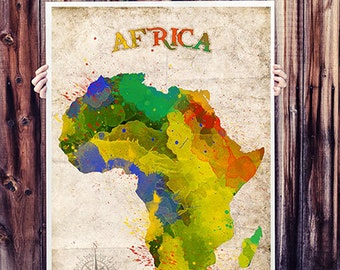 WATERCOLOR MAP - Africa  Map Watercolor Painting. Watercolor poster. Handmade poster.