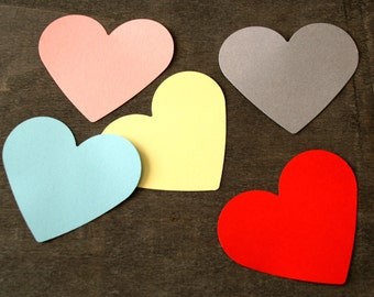 Any color 3'' Large HEART 50 pcs cardstock cutout, die cut Love hearts, Large heart, Large paper hearts engagement party, Valentines