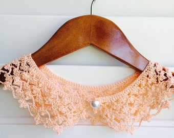 Peach Crocheted Peter Pan Collar, Handmade, For Her, Gift for Her, Gift Ideas, For Mom, AtelierMariaBonita