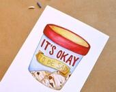 It's Okay to be Sad Ice Cream Pint Postcard + Optional Envelope. Cute and Sweet Sympathy, Breakup, Sick Watercolor Illustration Postcard.