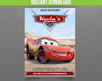 Disney Cars Lightning McQueen Birthday Invitation - Instant Download and Edit with Adobe Reader